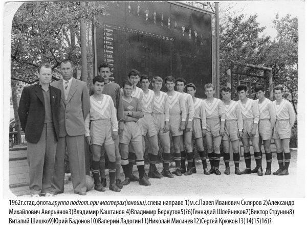 Команда флотских юношей у демонстрационной доски.