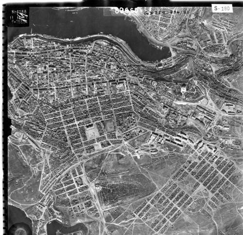 Аэросьемка. 1942г. В центре снимка хорошо виден стадион.