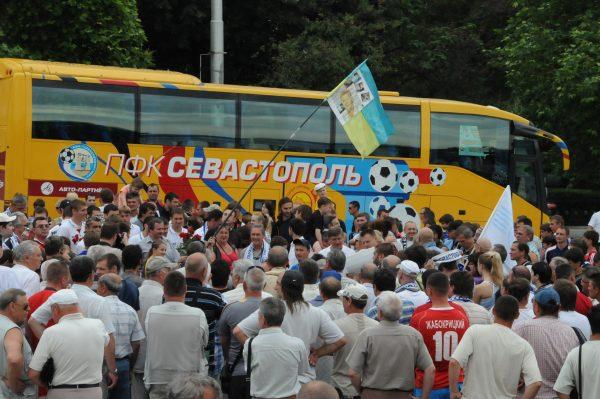Презентация автобуса на площади Нахимова.